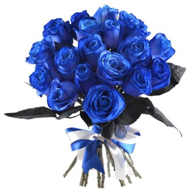 Синие розы поштучно от 15 штук