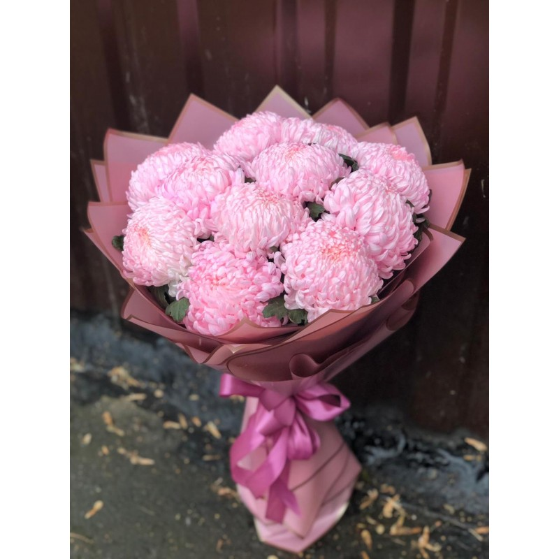 11 розовых хризантем
