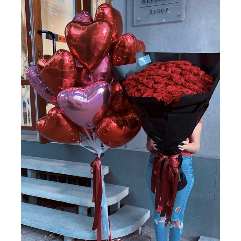 101 Роза и 9 шаров в форме сердца