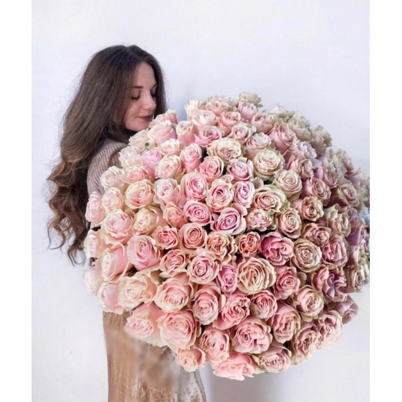 101 розовая роза Пинк Мандиаль, высота 70 см.