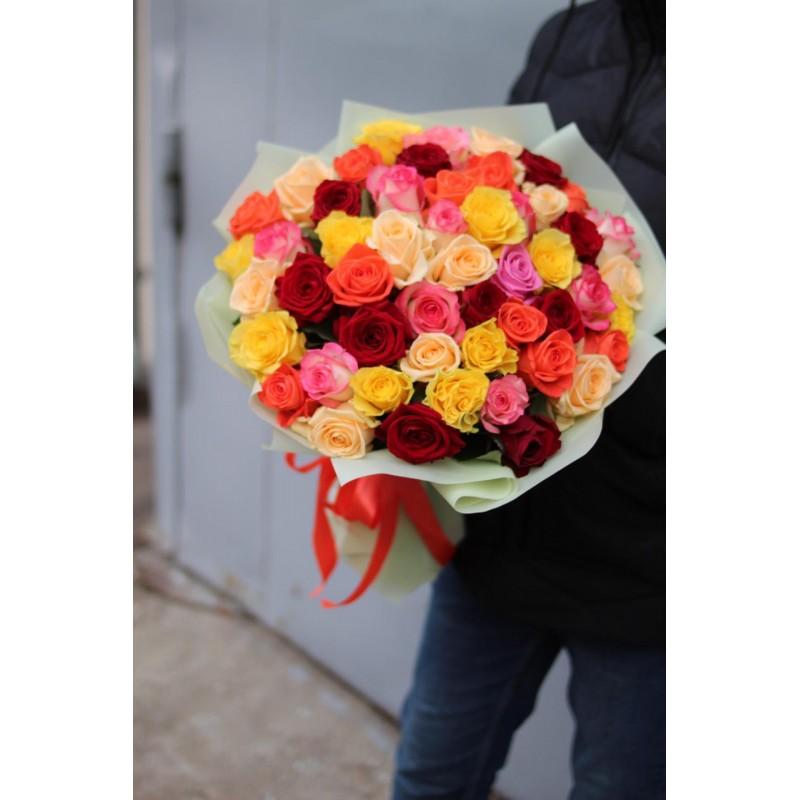 51 роза «яркий микс»