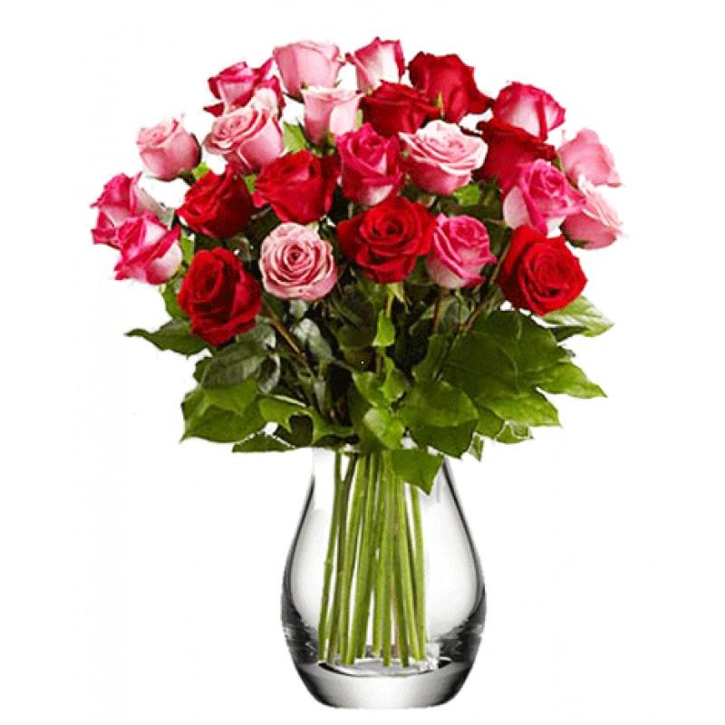 Микс из 29 роз в вазе