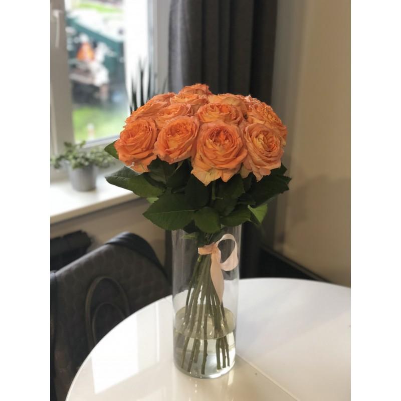 19 роз Оранж Романтика в вазе