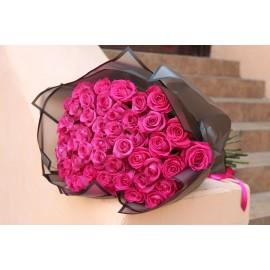 51 малиновая роза Эквадор высота 70 см.