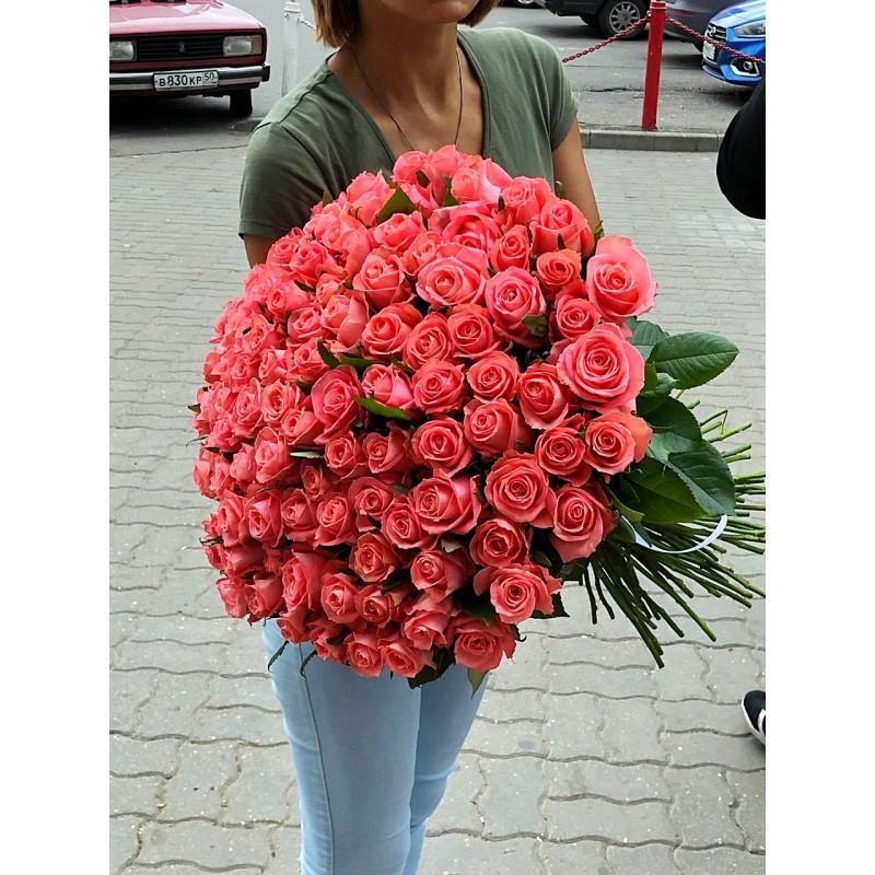 101 персиковая роза высота 60 см.