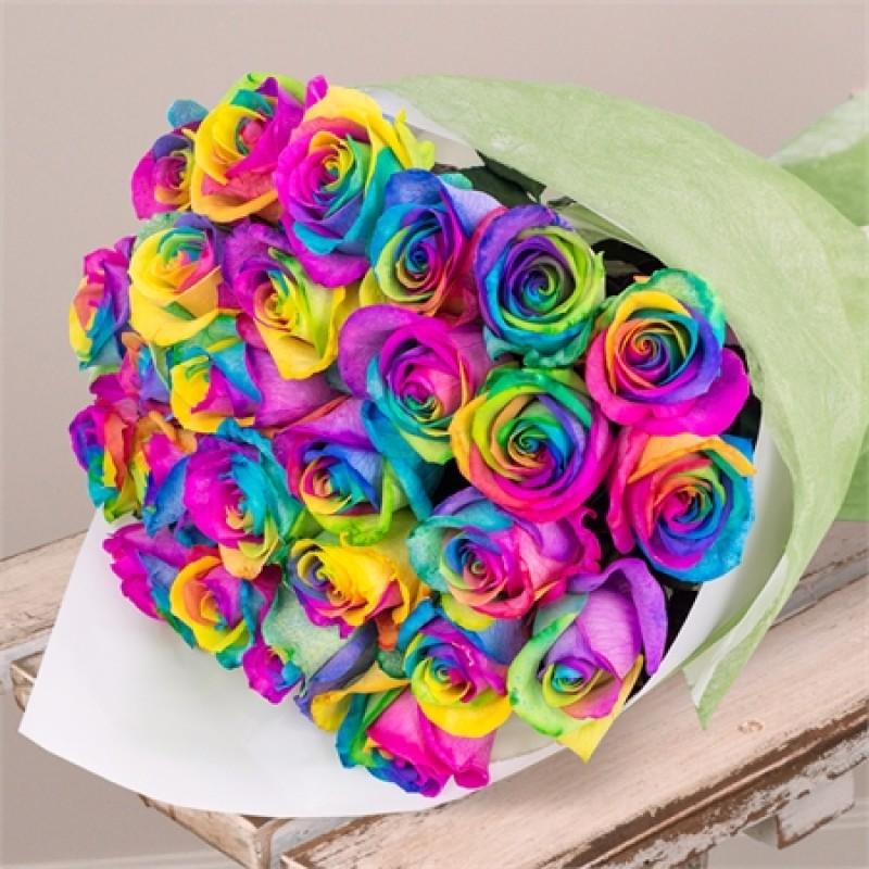 29 радужных роз