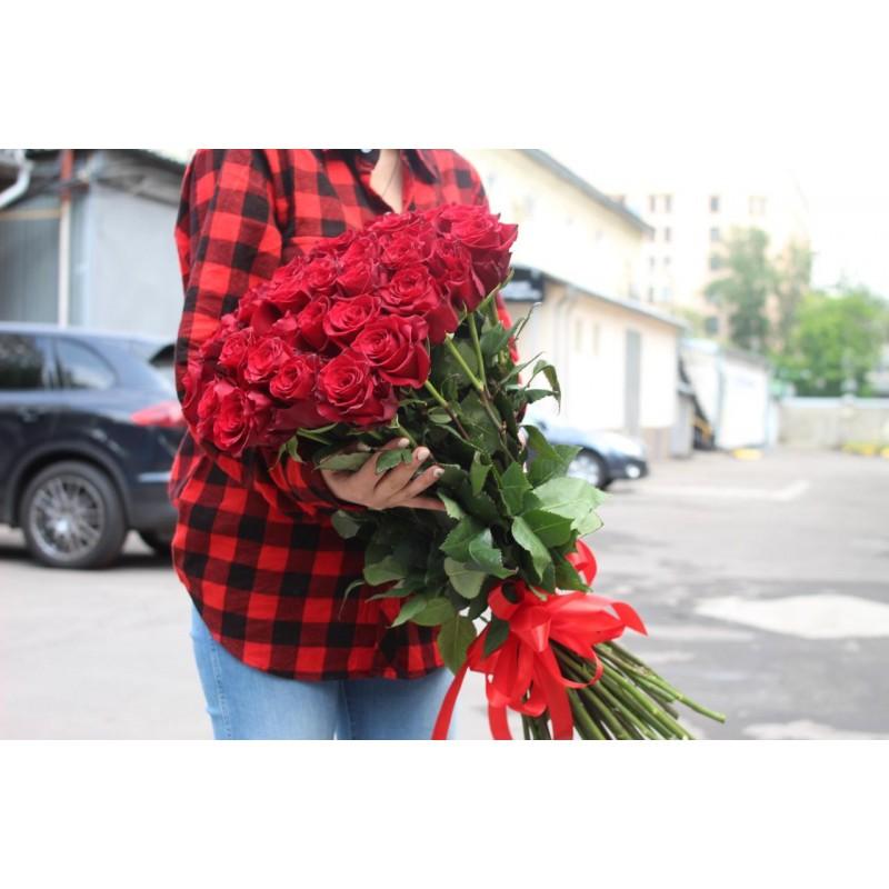 Красные розы Эквадор 80 см., от 25 штук