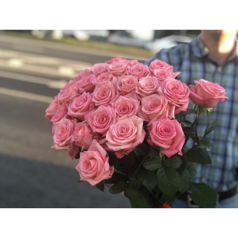 29 розовых роз высотой 60 см