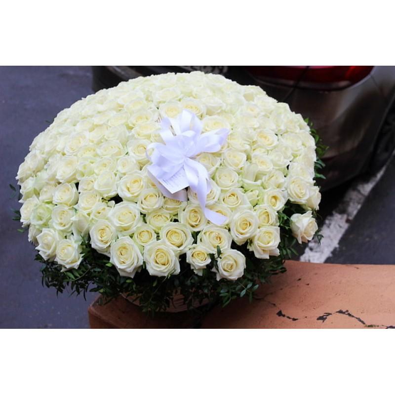 Корзина 201 белая роза