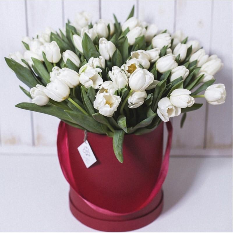 39 белых тюльпанов в коробке