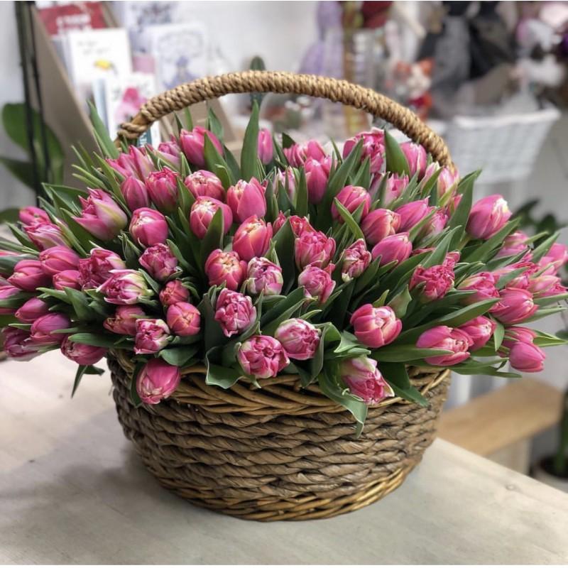 151 розовый тюльпан в корзине
